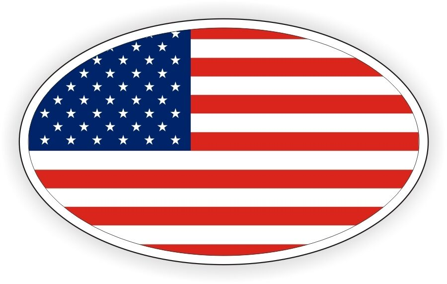 American Flag Oval Vinyl Decal Sticker Bumper Euro Old