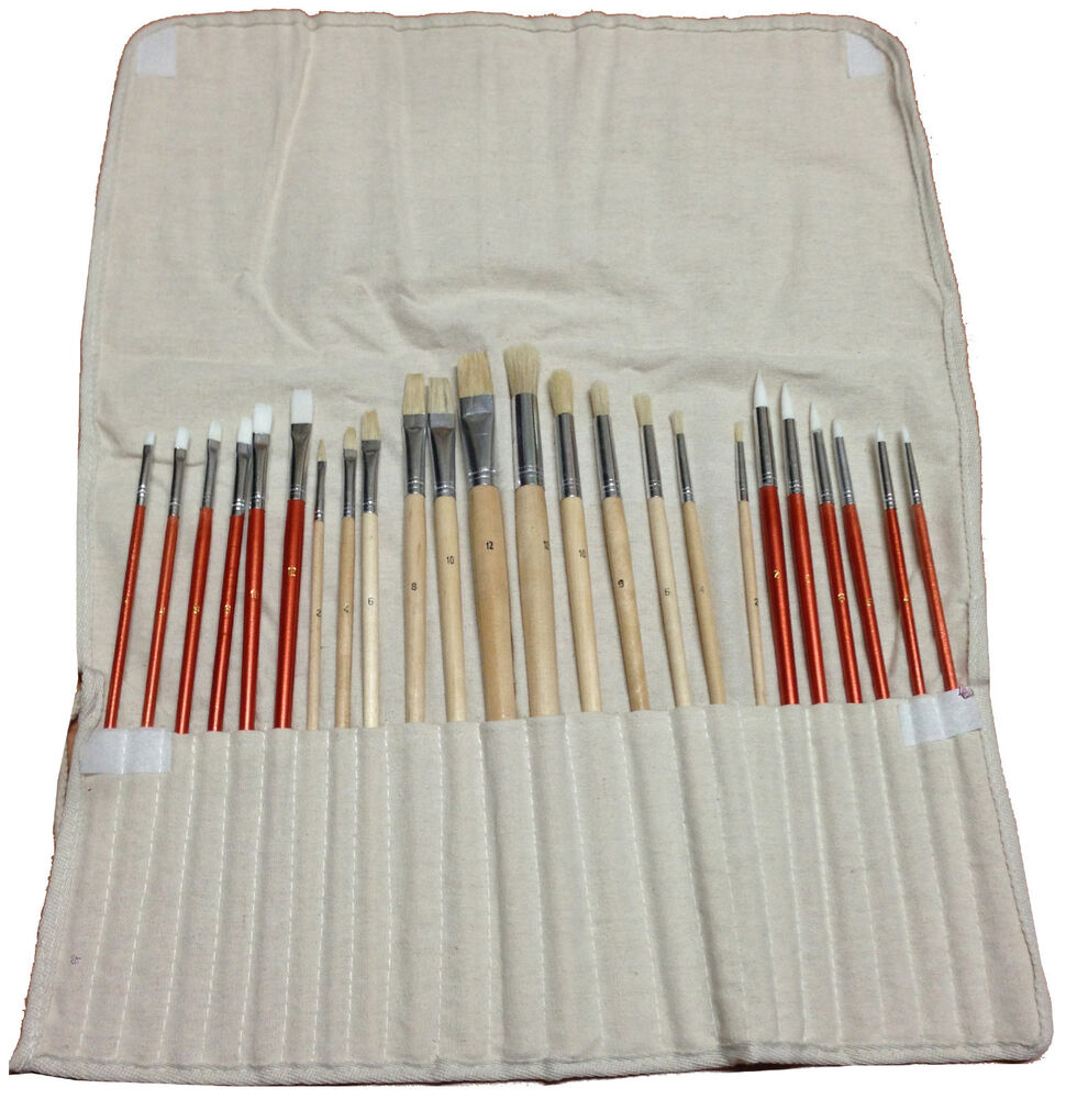 24 paint brush set for oil acrylic art craft artist for Canvas roll for painting
