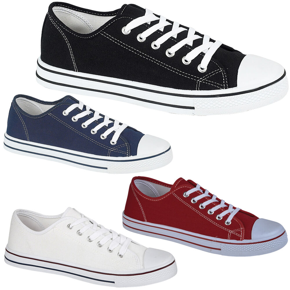 mens flat baseball casual lace up canvas trainers