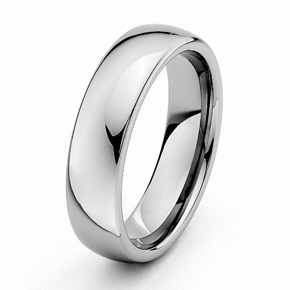 6mm classic tungsten carbide wedding band ring polished