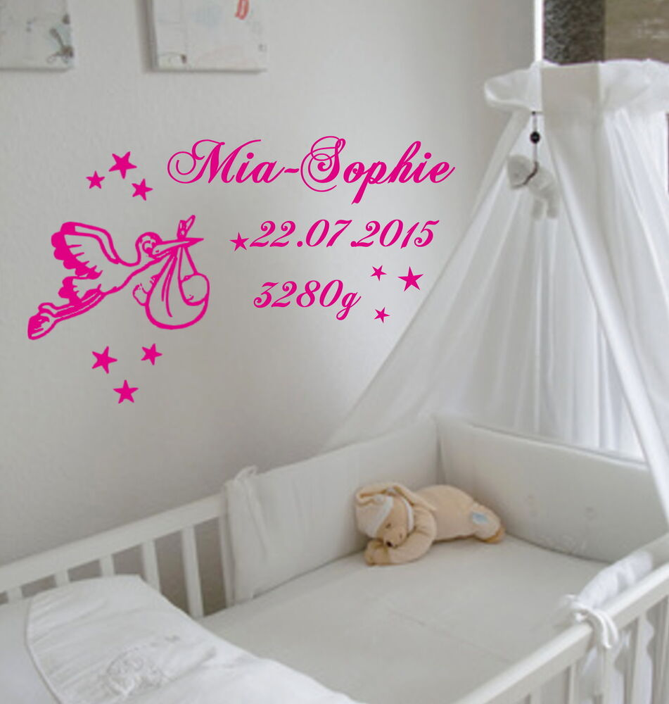 wandtattoo zur geburt mit storch und baby mit wunschnamen. Black Bedroom Furniture Sets. Home Design Ideas