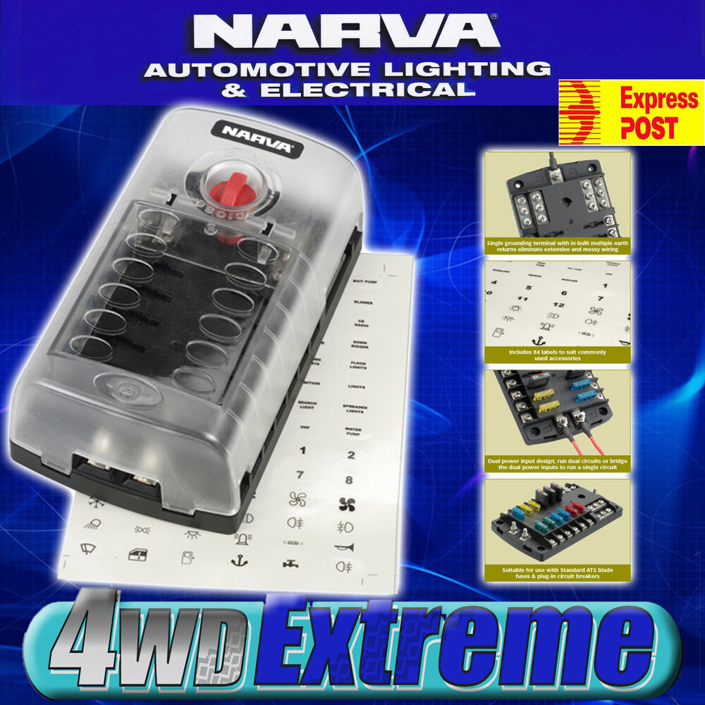 Narva way fuse block box holder ats blade caravan dual