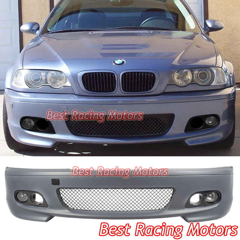 M-Tech II Style Front Bumper + Fog + Dual Hole Covers Fit