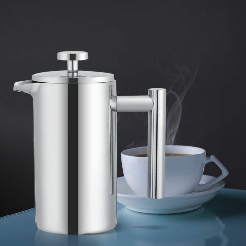 350ml stainless steel french press coffee plunger heat insulated cafe tea maker ebay. Black Bedroom Furniture Sets. Home Design Ideas
