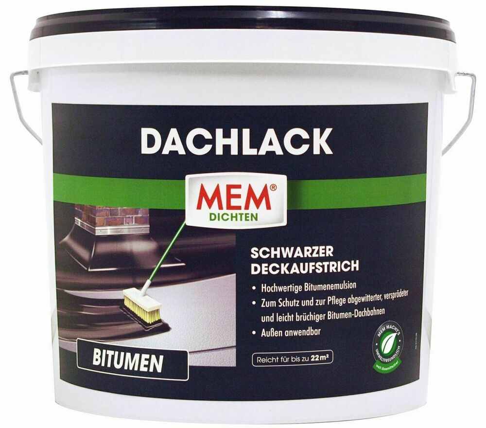 mem dachlack 1l bitumenanstrich bitumen abdichtung dach dachpappe ebay. Black Bedroom Furniture Sets. Home Design Ideas