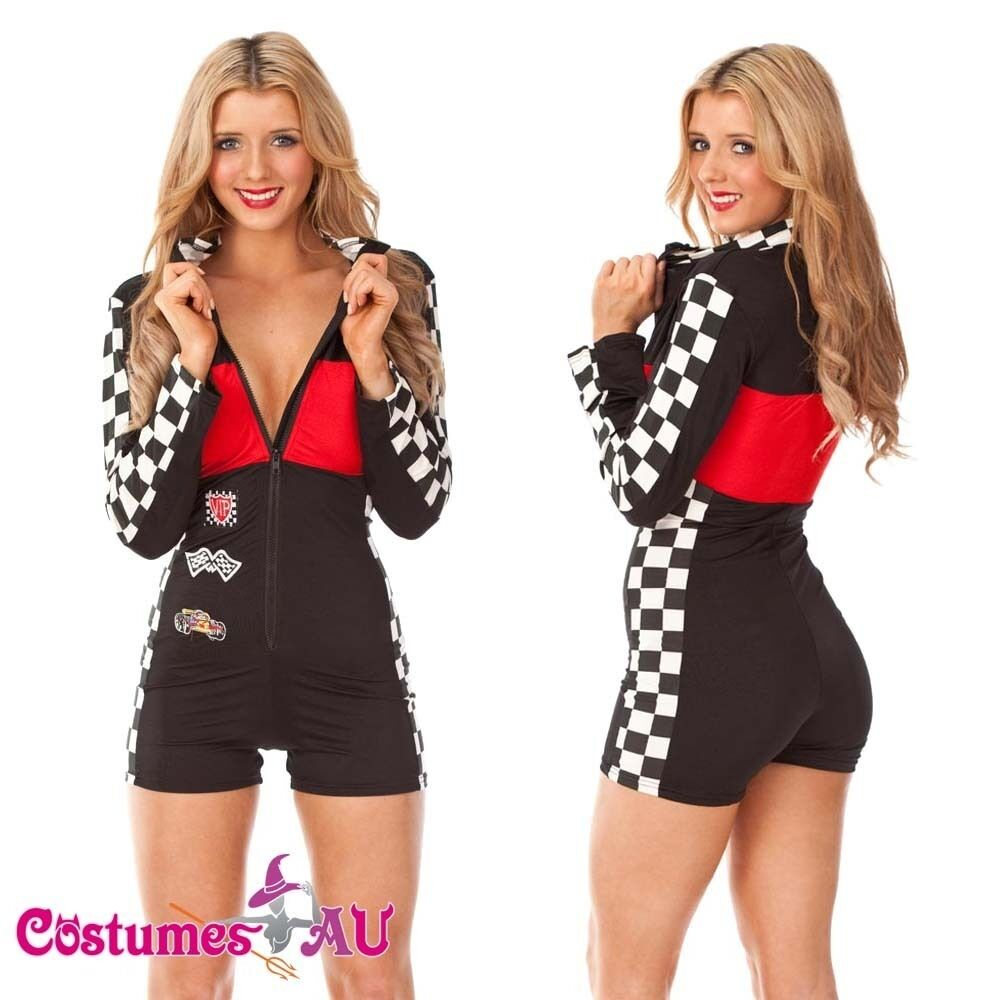 RACER GRID GIRL FANCY DRESS COSTUME. Includes: Romper Playsuit (All In One). Excludes: Checkered Flag (Available Separately). Features: Yellow & black all in one romper playsuit, hotpants style with f Quality Designer Formula 1 Racing Show Girl Costume Dress Jumpsuit Fancy Dress.