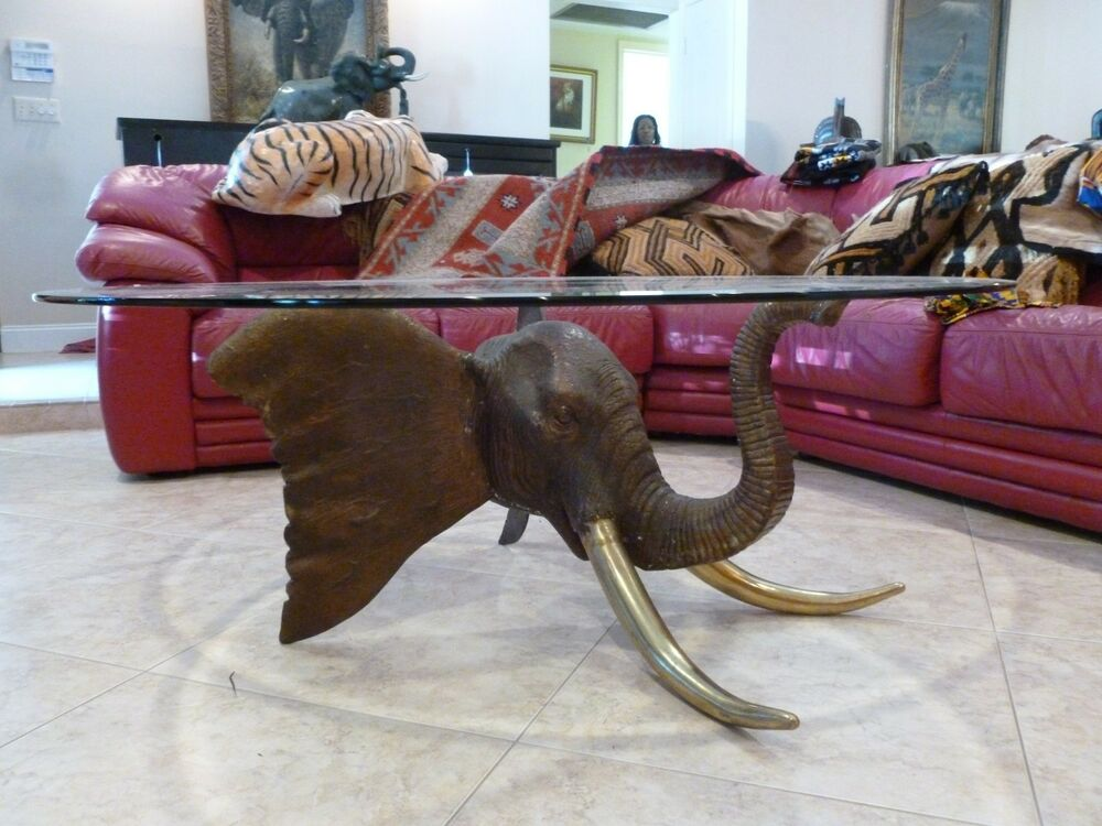 Big vintage african safari solid bronze elephant head w brass tusks coffee table ebay Elephant coffee table
