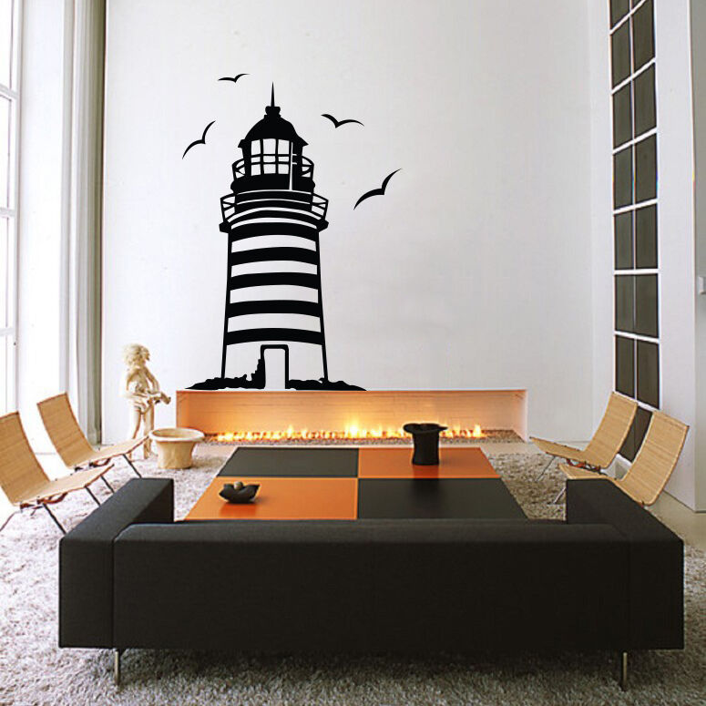 lighthouse wall decal sticker vinyl decor mural bedroom buy blue seaside lighthouse vinyl wall stickers kids