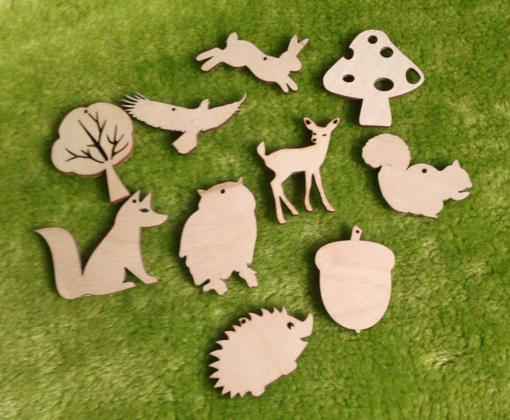 Wooden animal shapes woodland for crafts gift tags blank for Wood cutouts for crafts
