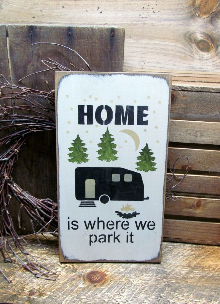 Funny rv sign camping decor campsite sign home is where for Odd decorations for home
