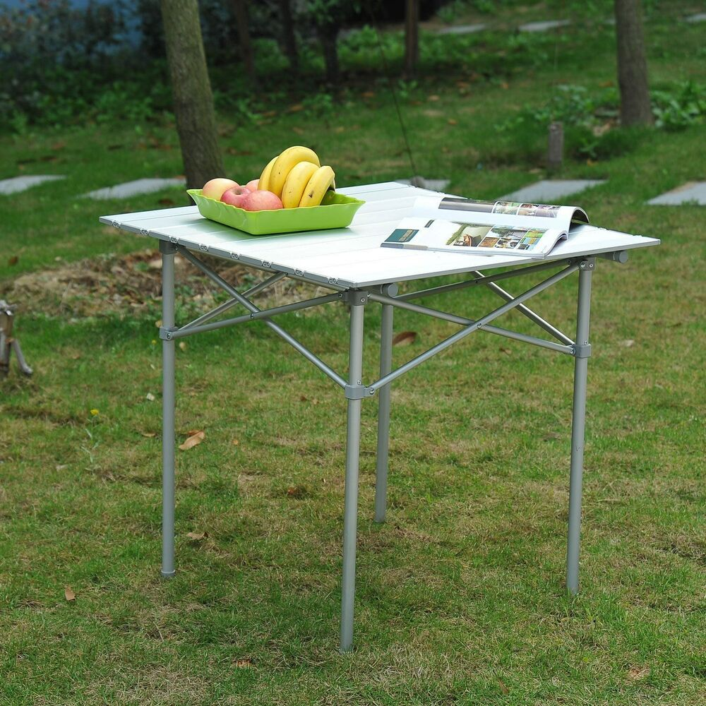 28 x 28 square aluminum picnic table roll up portable for Table camping