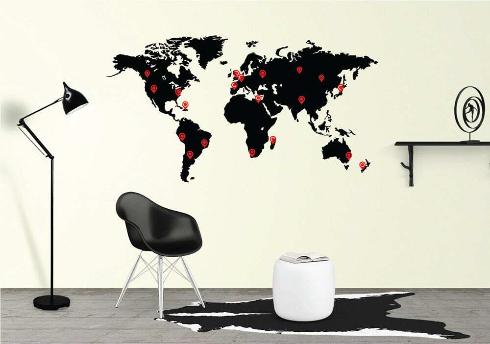 World Map Wall Decal Sticker Vinyl Decor Mural Bedroom