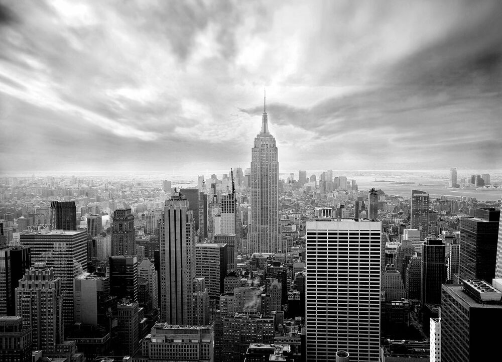 Wall mural photo wallpaper new york city skyline black and for Black and white new york mural wallpaper
