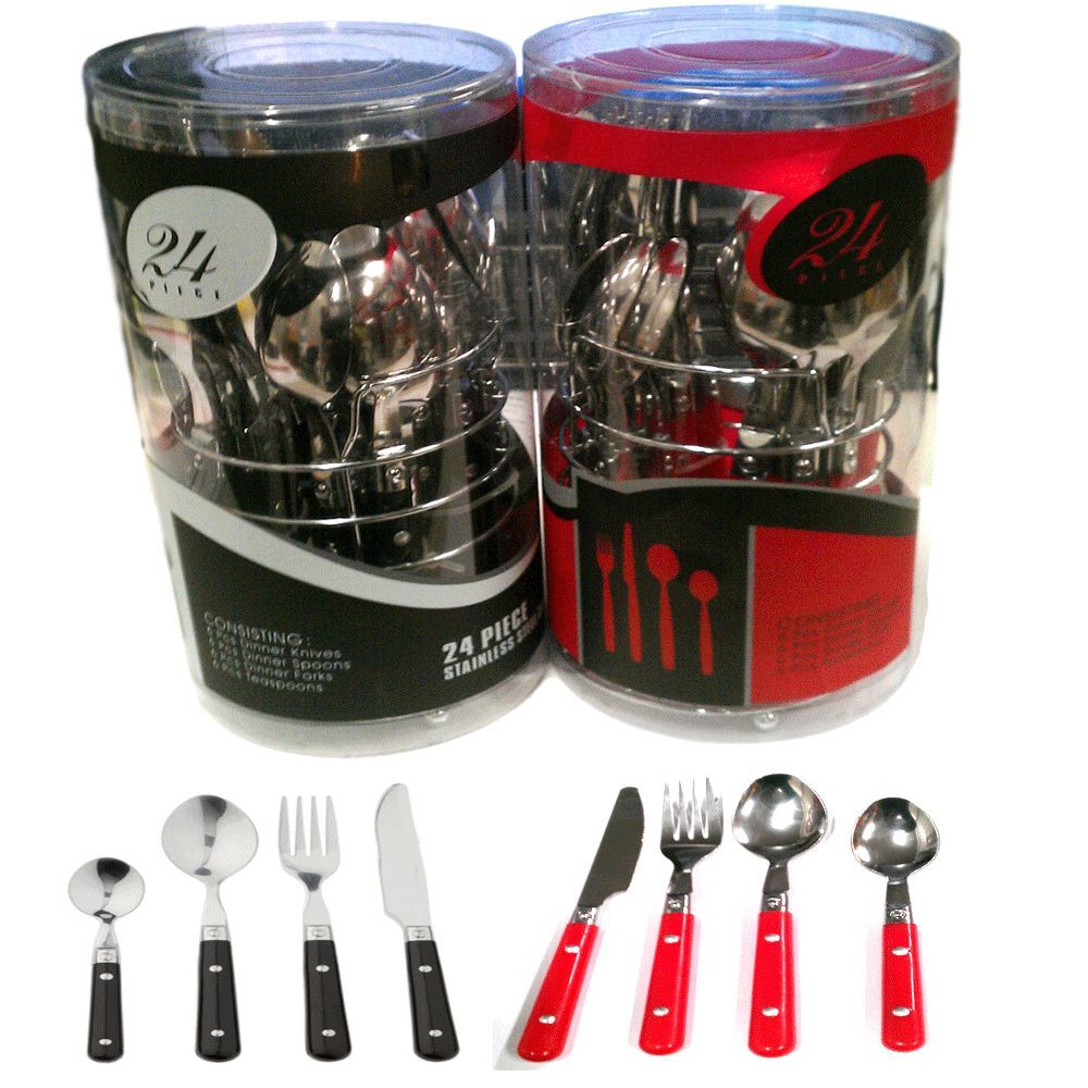 24 piece stylish stainless steel cutlery set tableware. Black Bedroom Furniture Sets. Home Design Ideas