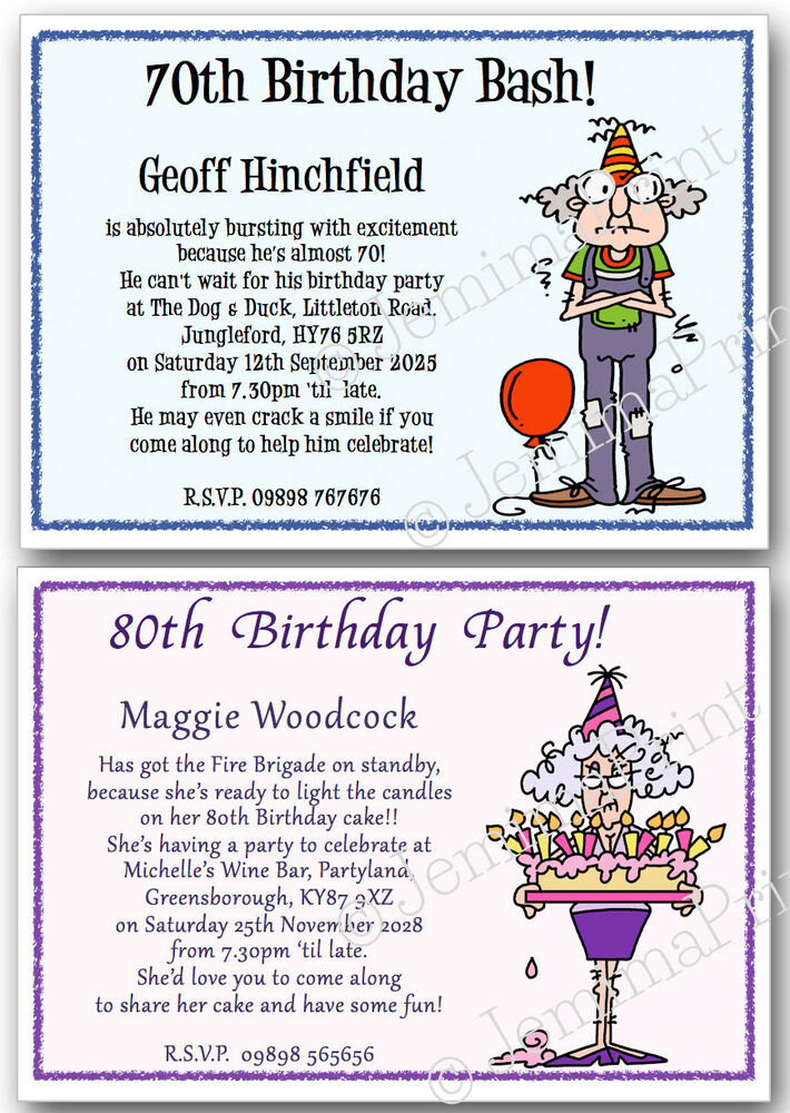 Funny 80th Birthday Party Invitations on funny 70th birthday cards