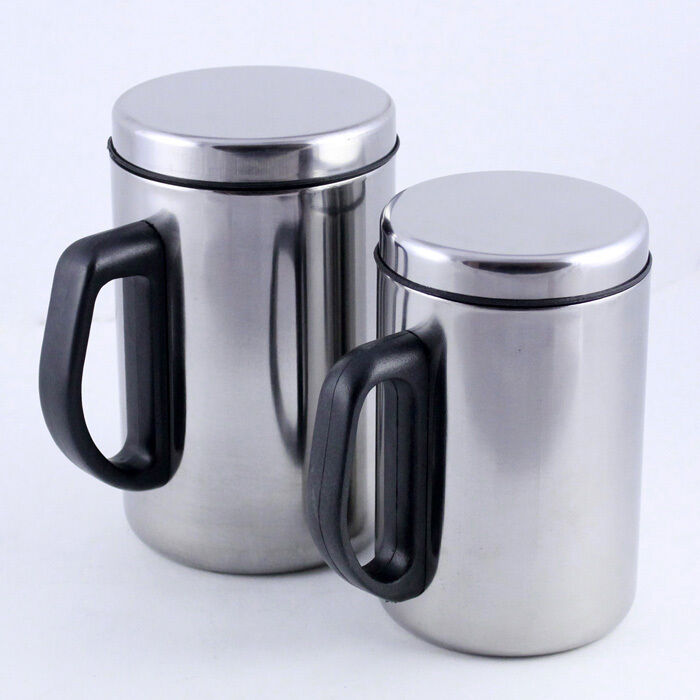 new 300ml 450ml stainless steel travel coffee mug tea cup insulated double wall ebay. Black Bedroom Furniture Sets. Home Design Ideas