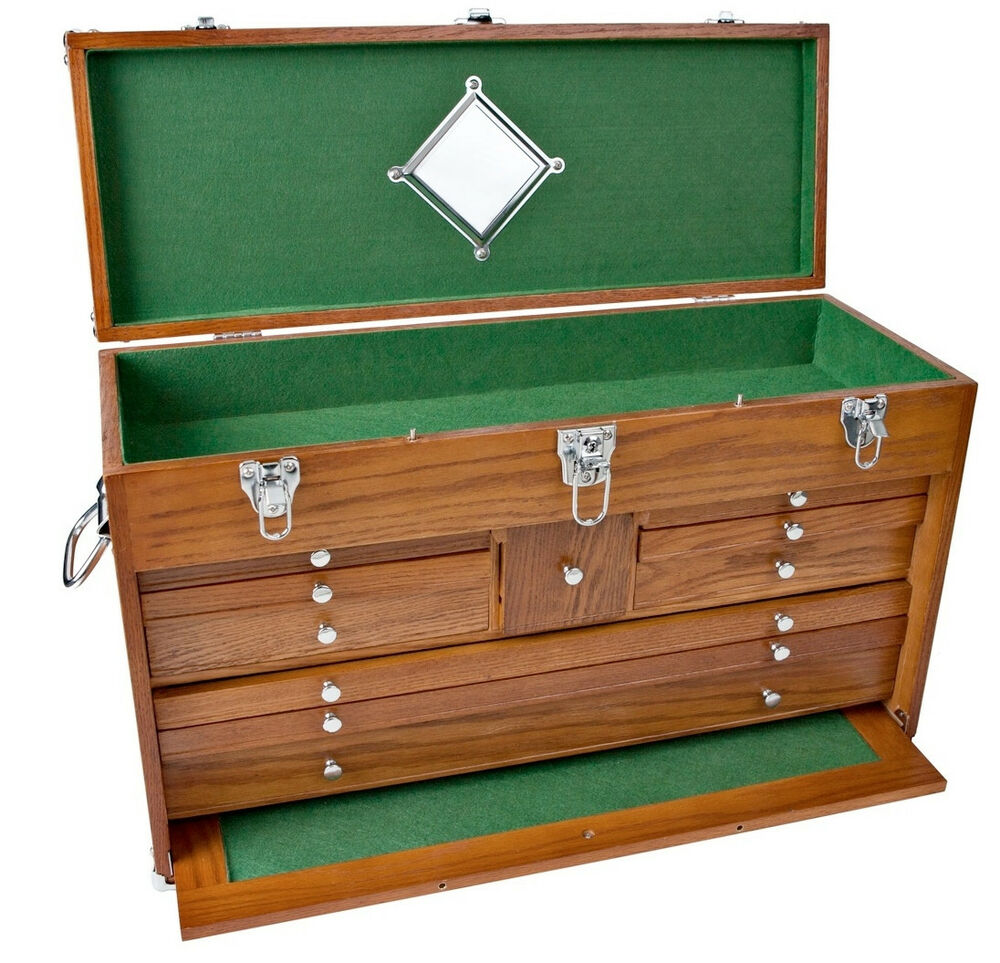 Wood Tool Chest ~ Solid oak drawer wooden machinist tool chest wood box