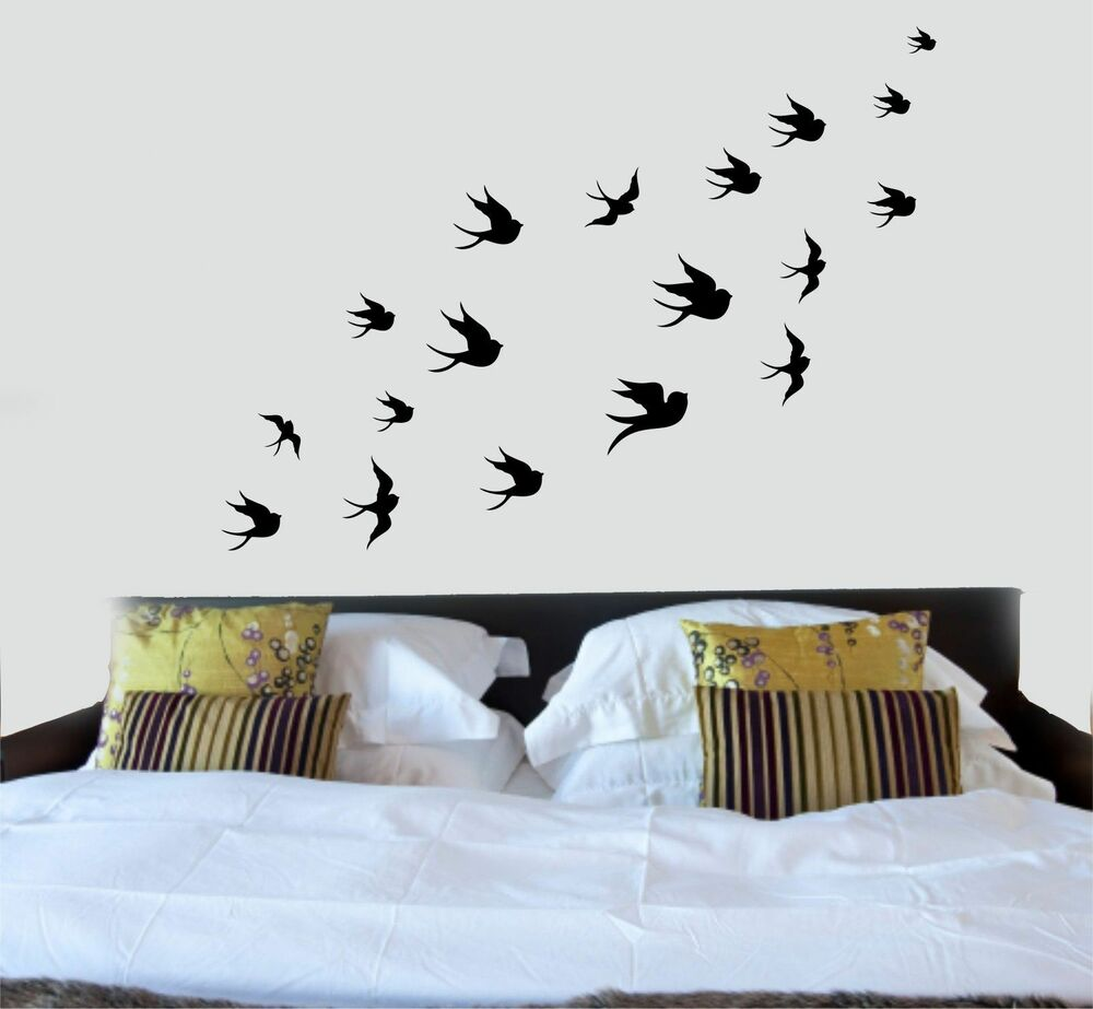 Swallows flock of birds silhouette wall art decal for Silhouette wall art