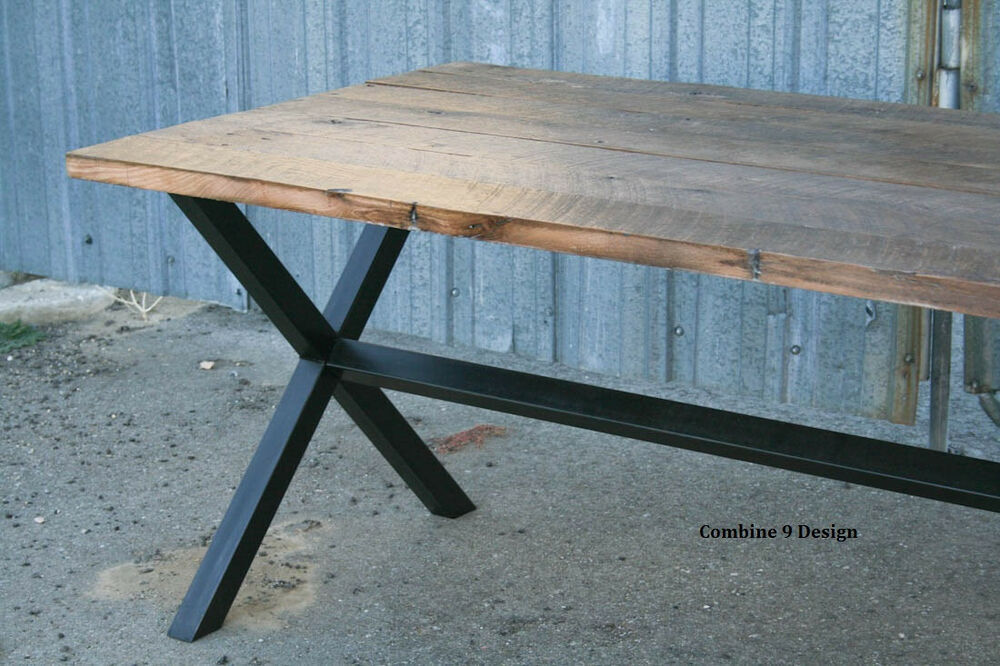 Vintage Industrial Dining Table Minimalist Modern Urban Steel Reclaimed Wood Ebay