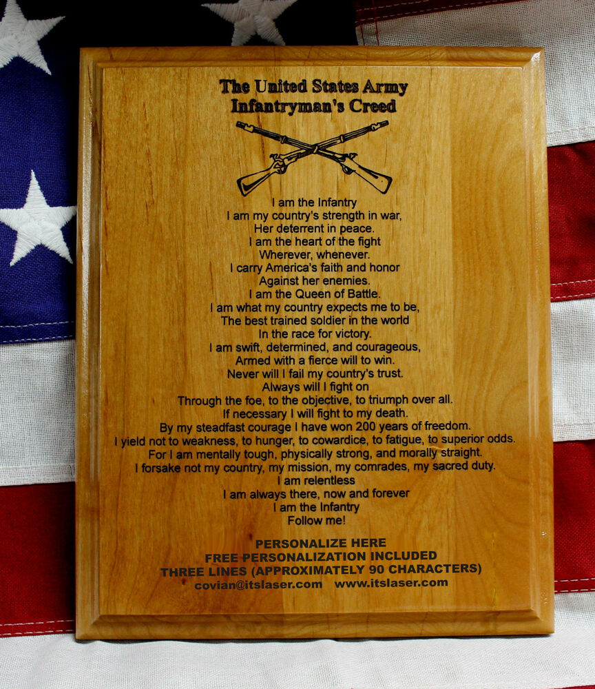 personalized us army infantryman 39 s creed plaque infantry crossed rifles gift ebay. Black Bedroom Furniture Sets. Home Design Ideas