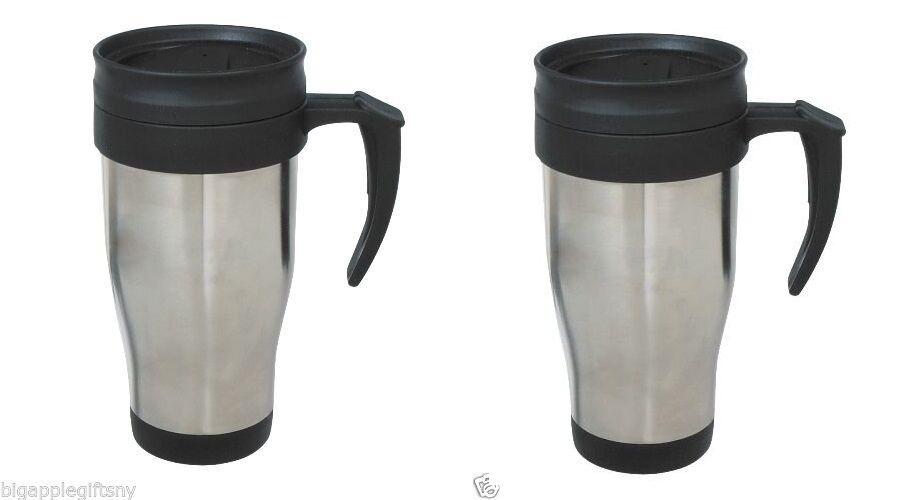 Set Of 2 X Stainless Steel Insulated Double Wall Travel