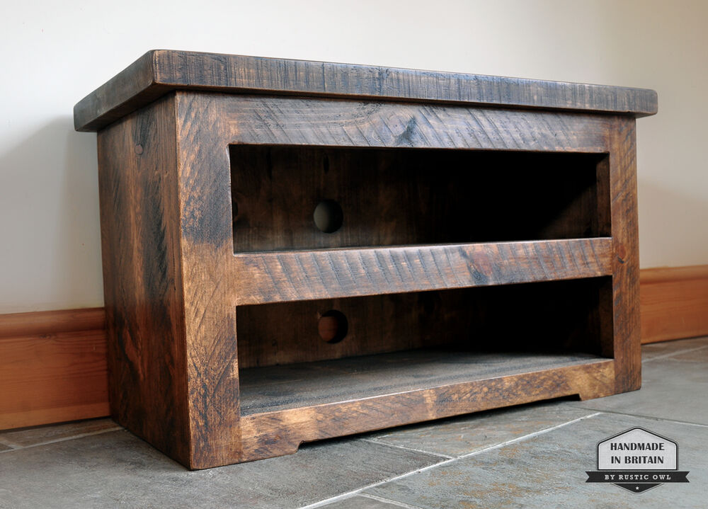 Rustic Pine TV Unit Solid Chunky Wood Stand/cabinet