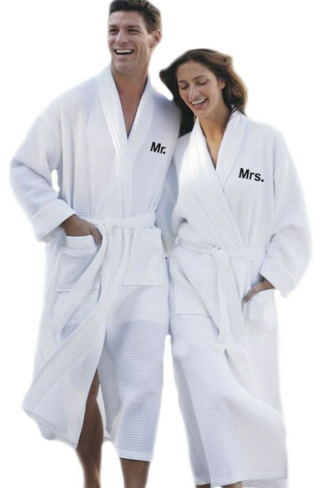 Personalized mr and mrs matching embroidery waffle for Mr and mrs spa