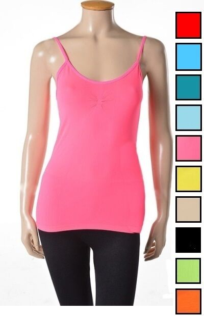 Women Soft Seamless Camisole Tank Tops Spaghetti Strap One
