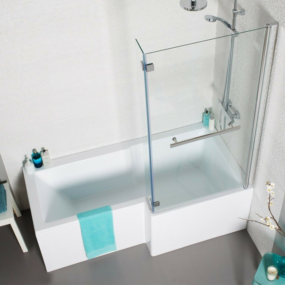 L shape square shower bath 1700 with panels hinged screen for Square baths