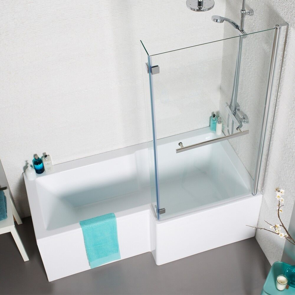 L Shape Square Shower Bath 1700 With Panels Hinged Screen
