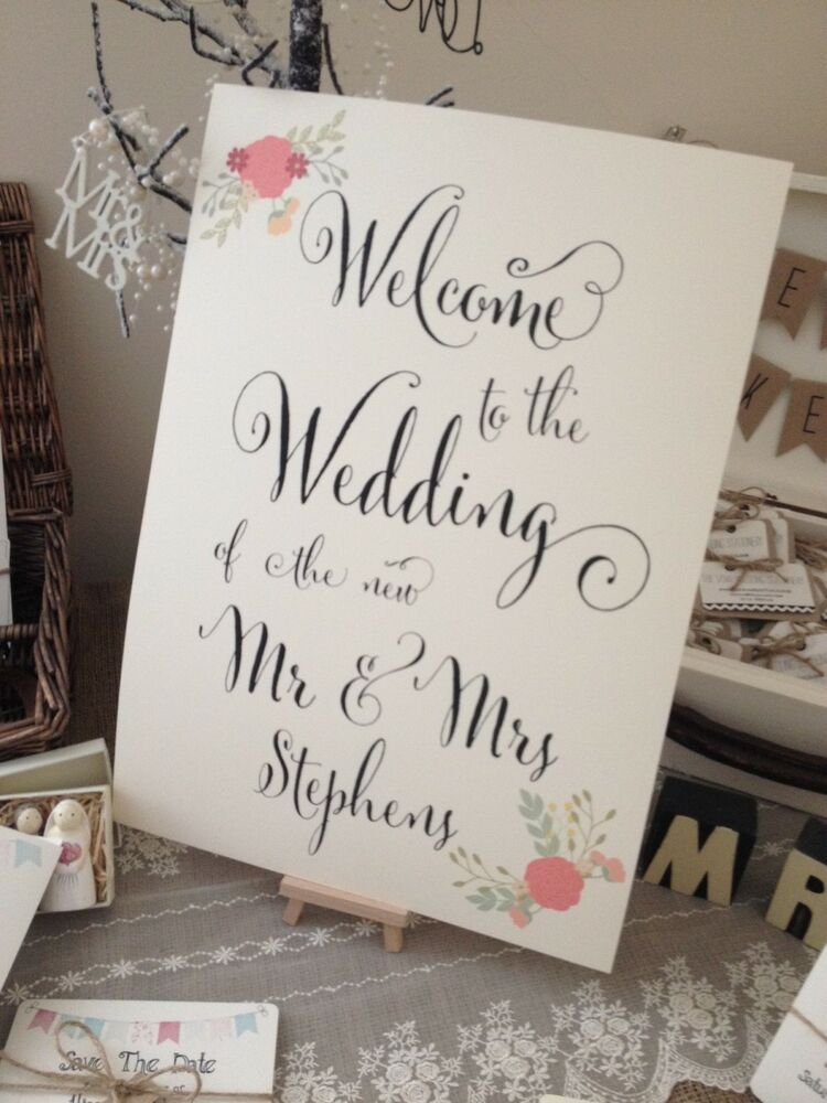 1 Personalised Rustic Shabby Chic Emily A3 Fancy Font Wedding Welcome Poster