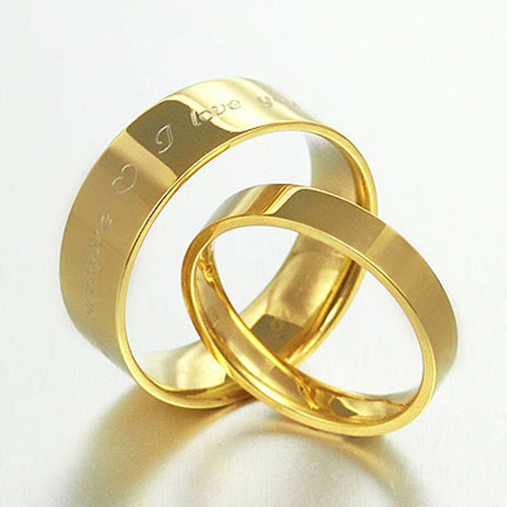 His and Her Plain Yellow Gold Flat Court Wedding Titanium Rings Set 057A3