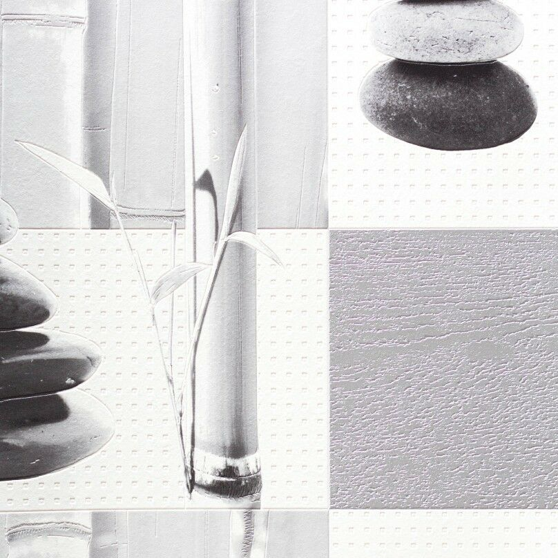 Kitchen and bathroom silver bamboo pebbles tile wallpaper for Silver kitchen wallpaper