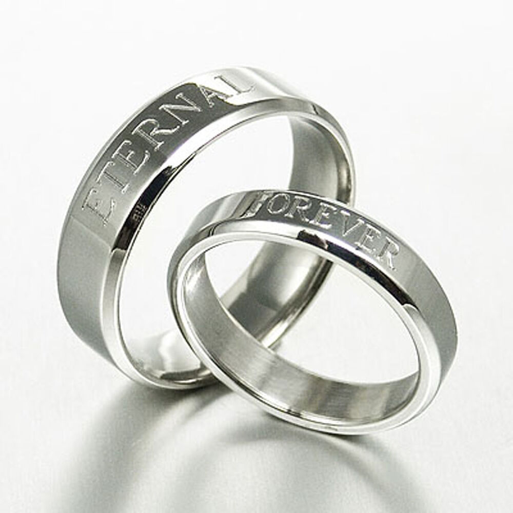 Personalize His And Her Matching Anniversary Wedding Ring Set 063A3 EBay