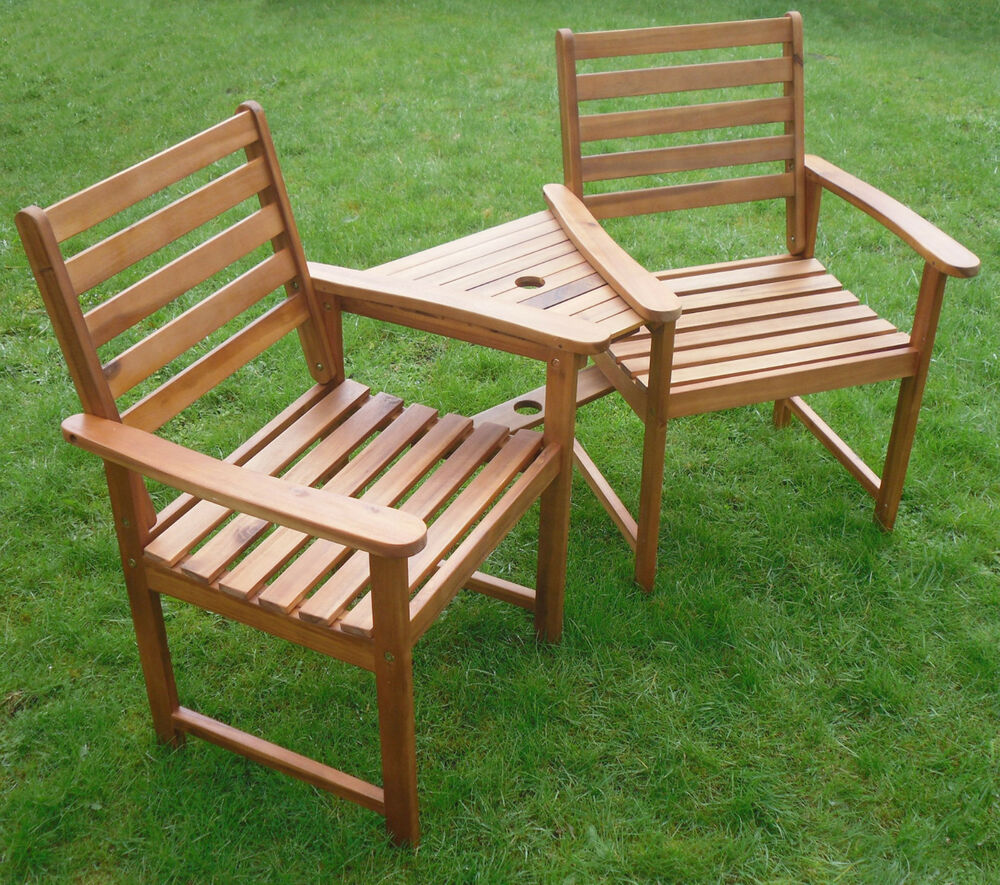 Quality love seat companion set hardwood bench garden for Hardwood garden furniture