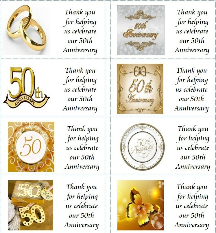 Wedding Gifts For 50 Year Olds : 40 Personalised 50th Wedding Anniversary labels/stickers/party/cake ...