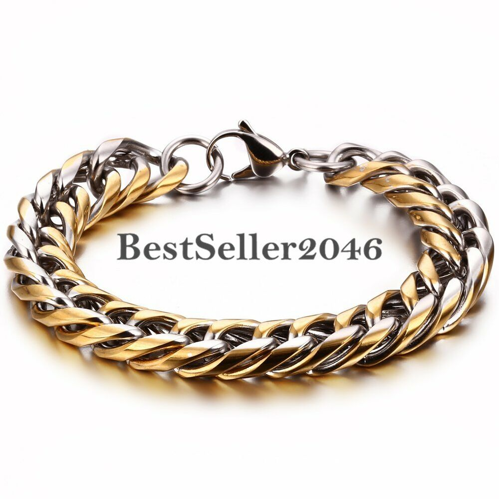 Silver Chain Link Bracelet: Gold And Silver Tone Polished Stainless Steel Cuban Curb