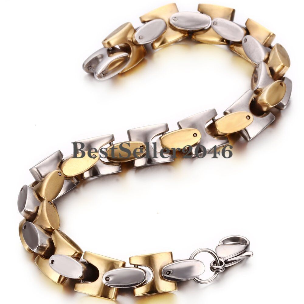 Gold Jewelry Bracelets: Men's Stainless Steel Gold And Silver Tone Link Chunky