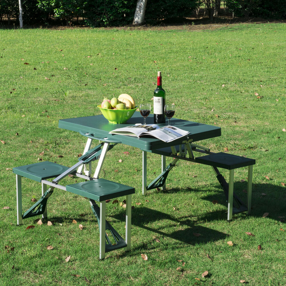 Outdoor Portable Folding Plastic Garden Camping Picnic Table With 4 Seats Gre