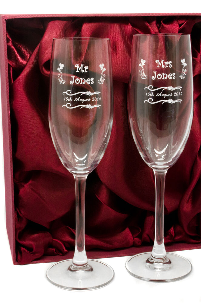 Engraved Pair Mr And Mrs Champagne Glasses Flutes Personalised