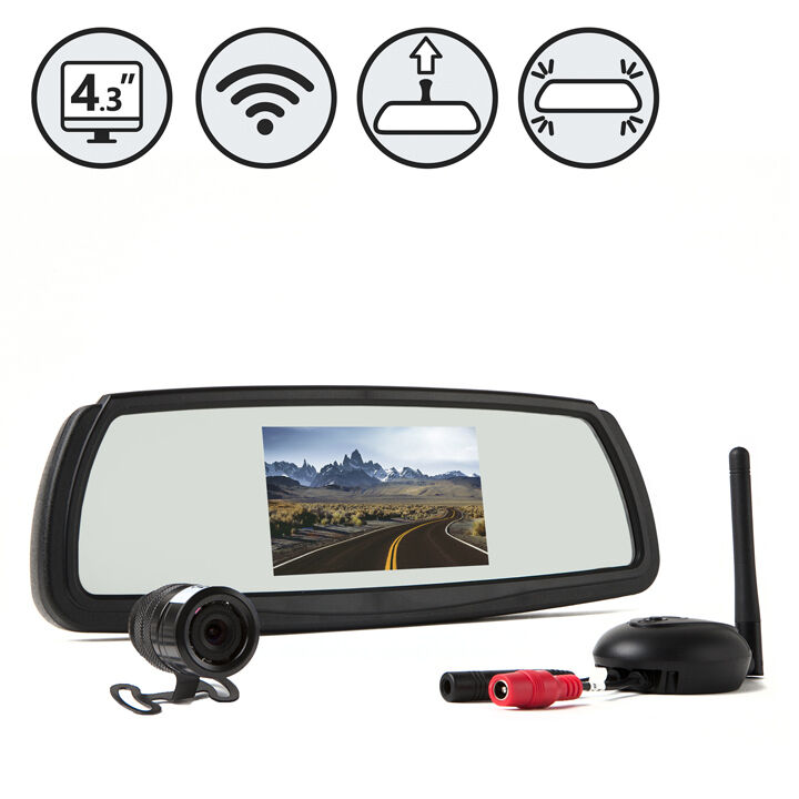 digital wireless backup camera system with mirror monitor rear view camper car ebay. Black Bedroom Furniture Sets. Home Design Ideas