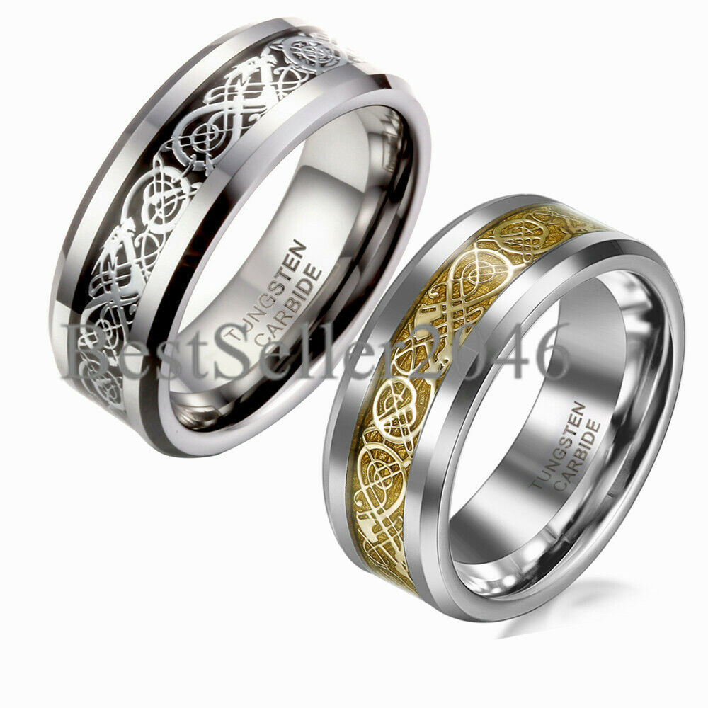 Men Tungsten Carbide Ring Wedding Band 8mm Silver Celtic Dragon Inlay  Polish  Ebay