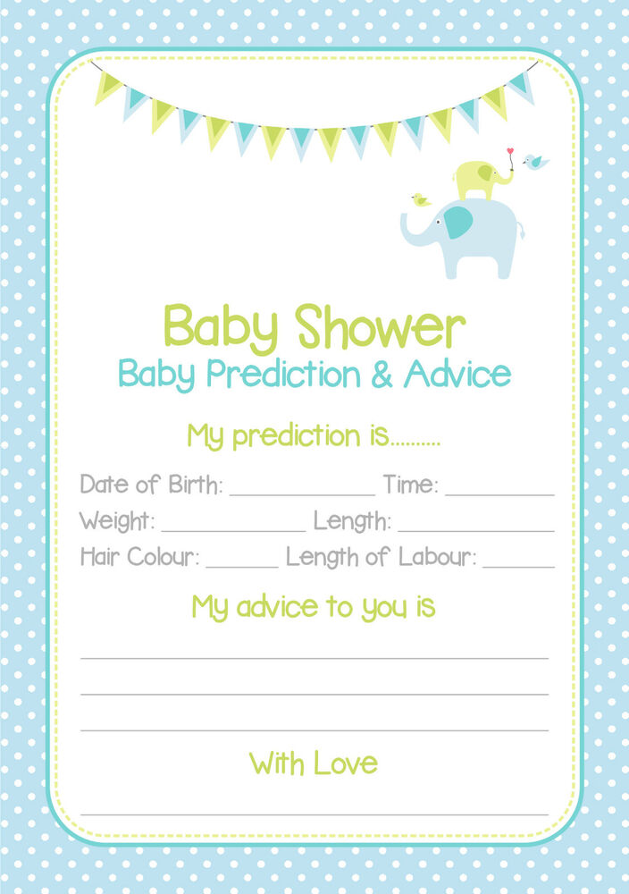 Baby Shower Prediction Cards Game Blue/Boy 20 Players | eBay