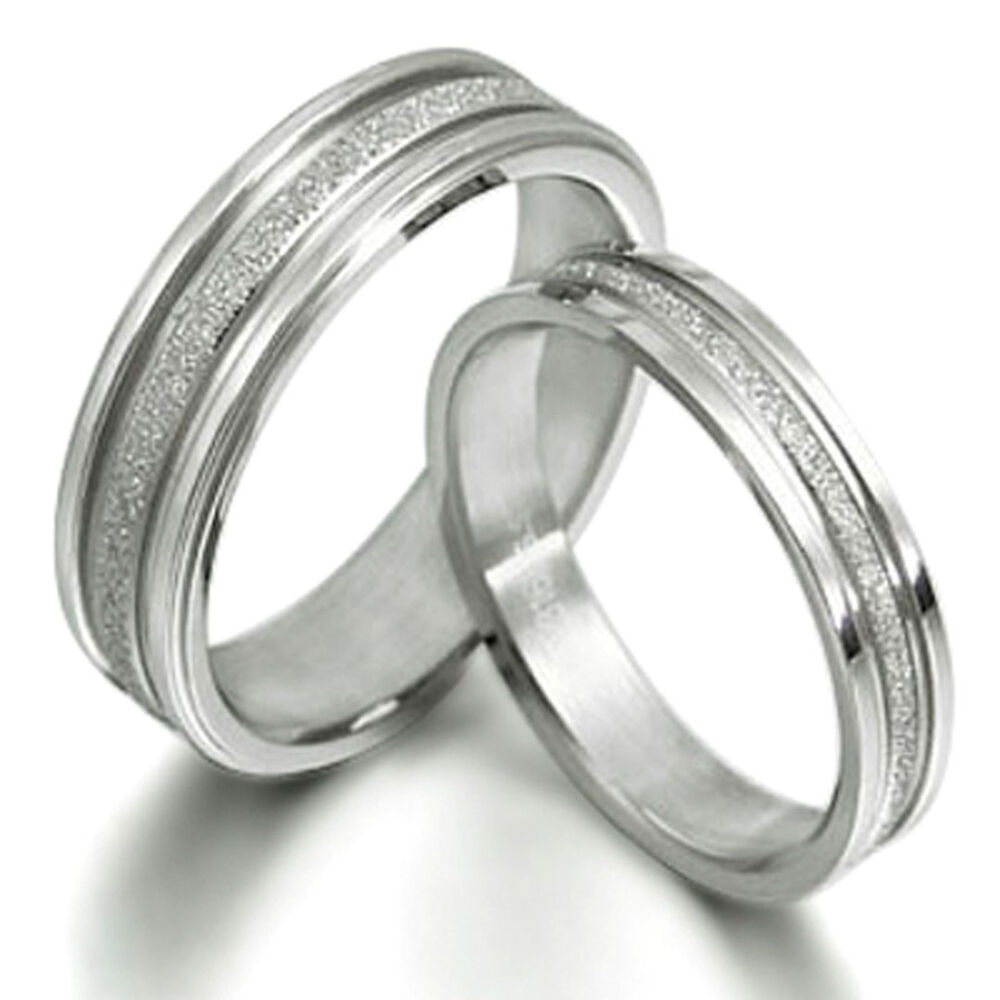 His And Her Matching Wedding Bands Titanium Ring Set 016A3 EBay