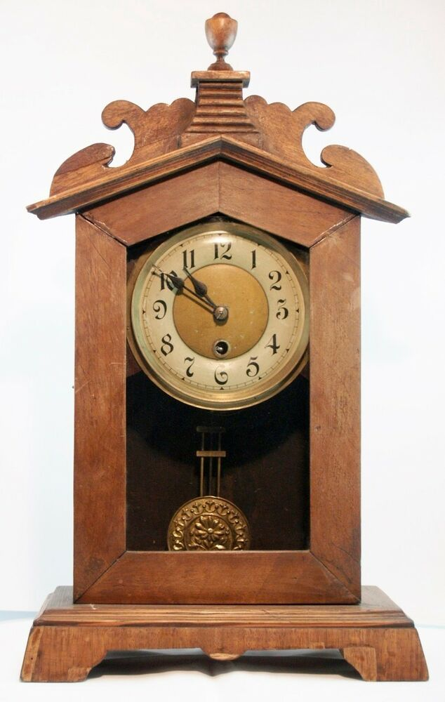 Antique Folk Table Clock Custom Made Wooden Work Good