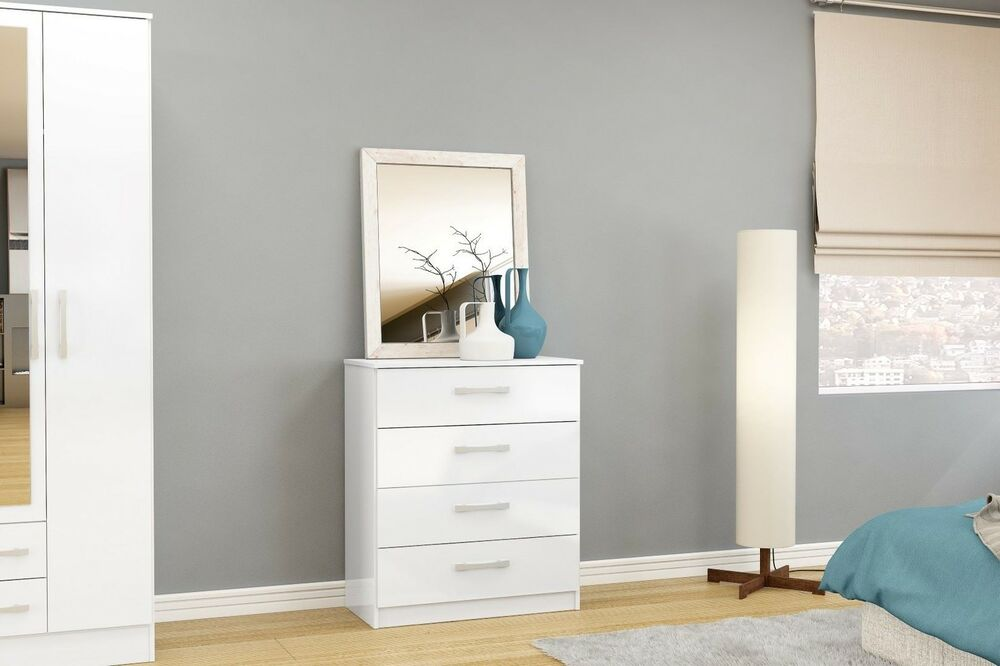 lynx high gloss all white 4 drawer chest bedroom furniture new ebay