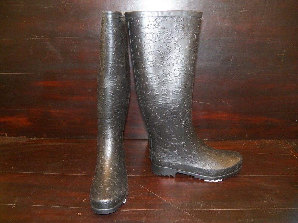 new womens ugg wilshire logo tall black rain winter boots