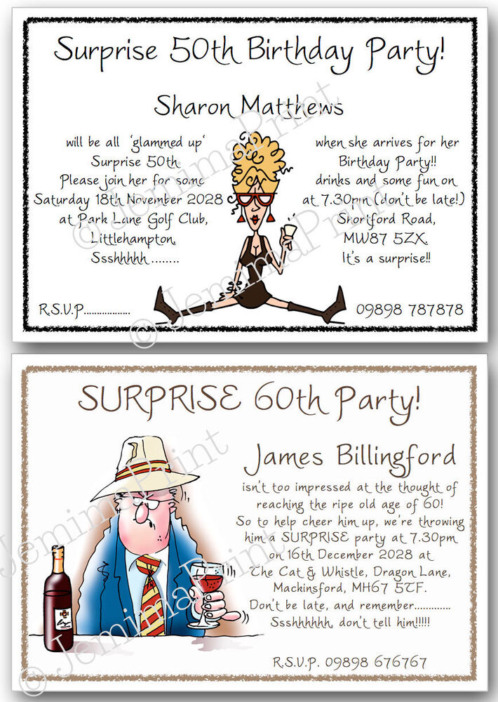 Details About Personalised Surprise Birthday Invitations 30th 40th 50th 60th 70th 80th X10 J16