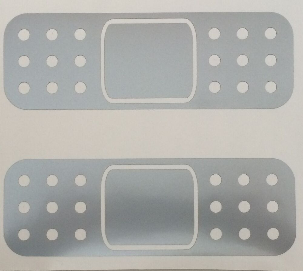 2 New Silver Band Aid Bandaid Scratch Dent Scuff Sticker