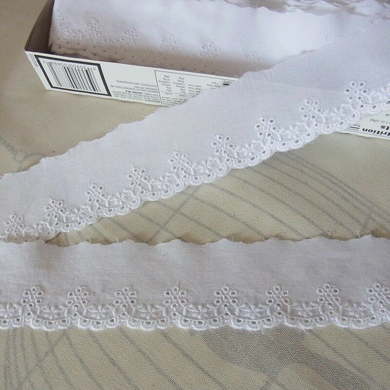Fabric Flower Trim: 14 Yards Embroidery Scalloped Cotton Fabric Eyelet Lace